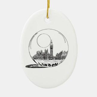 London in a glass ball . ceramic ornament