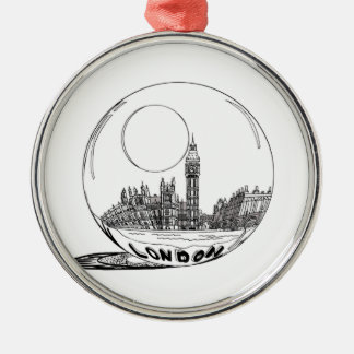London in a glass ball . metal ornament