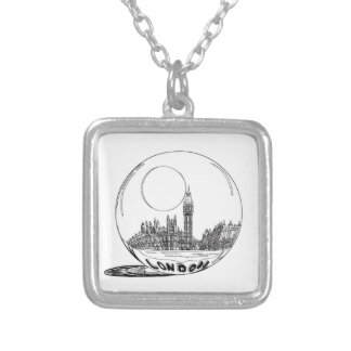 London in a glass ball . silver plated necklace