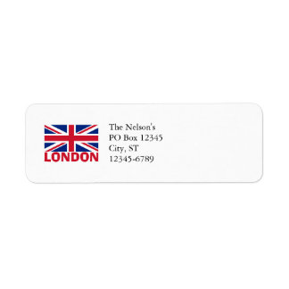 London in Red Return Address Label