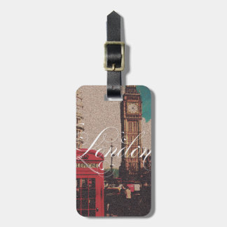 London Landmark vintage photo monogram Luggage Tag