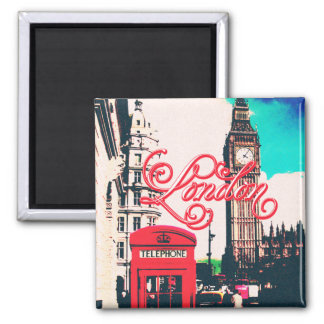 London Landmark Vintage Photo Square Magnet