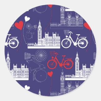 London Landmarks Pattern Round Sticker
