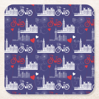 London Landmarks Pattern Square Paper Coaster