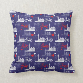 London Landmarks Pattern Throw Pillow