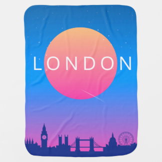 London Landmarks Travel Poster Baby Blanket