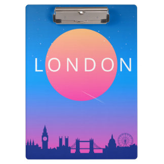 London Landmarks Travel Poster Clipboard