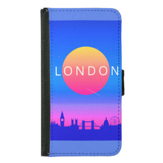 London Landmarks Travel Poster Samsung Galaxy S5 Wallet Case