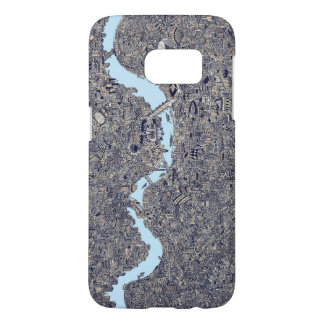london map hand drawn illustraion thames samsung galaxy s7 case