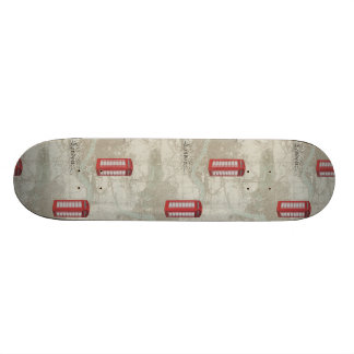London Map Red Phone Booth Skateboard