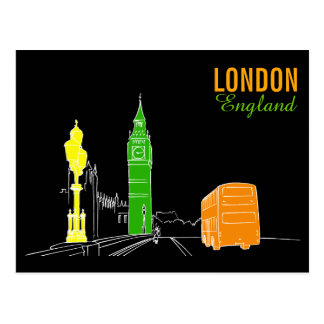 London Neon Modern Pop Art Sketch Black Cool Postcard