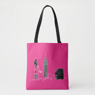 London Neon Pink Black Cool Stylish Sketch Minimal Tote Bag