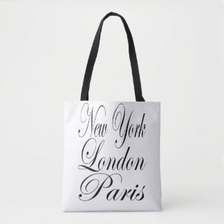 London - New York - Paris Typography Tote Bag