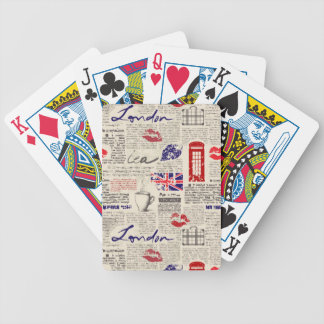 London Newspaper Pattern Bicycle Playing Cards