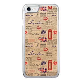 London Newspaper Pattern Carved iPhone 8/7 Case
