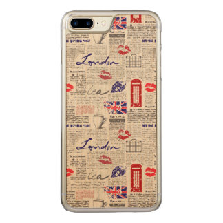 London Newspaper Pattern Carved iPhone 8 Plus/7 Plus Case