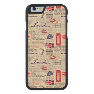 London Newspaper Pattern Carved Maple iPhone 6 Case
