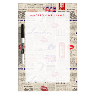 London Newspaper Pattern Dry Erase Board