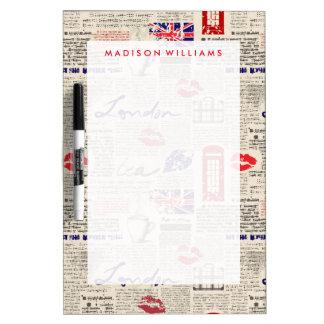 London Newspaper Pattern Dry-Erase Board