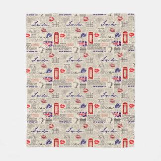 London Newspaper Pattern Fleece Blanket