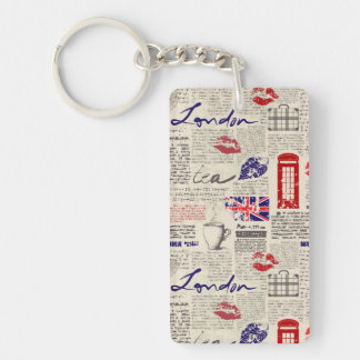 London Newspaper Pattern Keychain