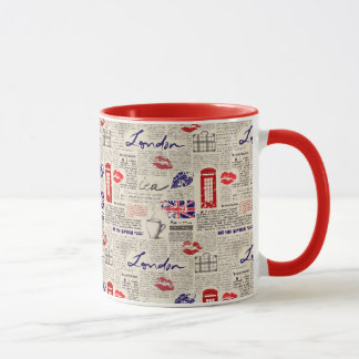 London Newspaper Pattern Mug