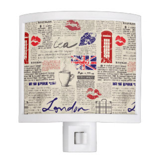 London Newspaper Pattern Nite Lite