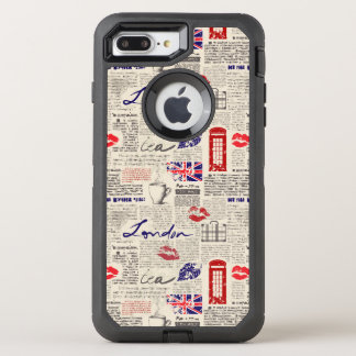 London Newspaper Pattern OtterBox Defender iPhone 8 Plus/7 Plus Case