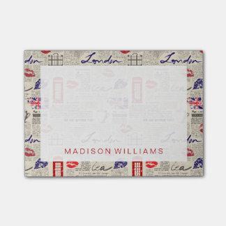London Newspaper Pattern Post-it Notes