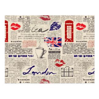London Newspaper Pattern Postcard