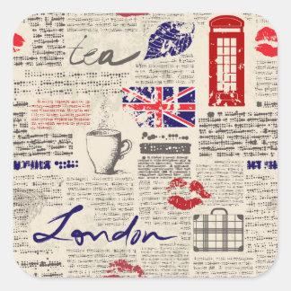 London Newspaper Pattern Square Sticker