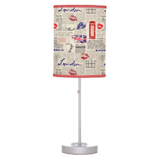 London Newspaper Pattern Table Lamp