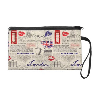 London Newspaper Pattern Wristlet