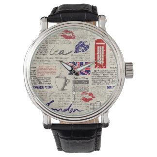 London Newspaper Pattern Wristwatch