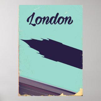London Parliament Big ben vintage poster
