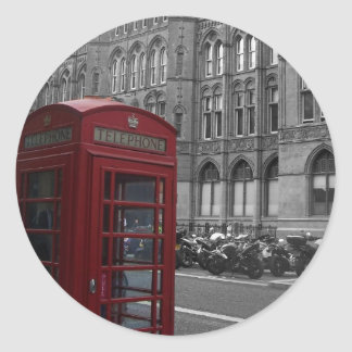 London Phone Booth Classic Round Sticker