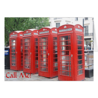 "London Phone Booth greeting card with ""Call Me"""