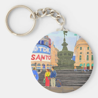 London, Piccadilly Circus Basic Round Button Keychain
