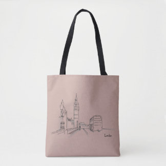 London Pink Clock Tower Double Decker Sketch Tote Bag