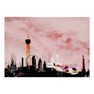 london pink sky collage travel europe poster
