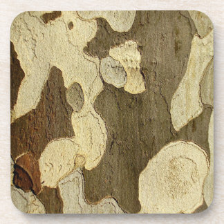 London Plane Tree Bark Hard Plastic Coasters