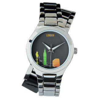 London Pop Art Neon Colors Vibrant Cool Modern Watch