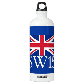 London Postcode SW15 with Union Jack Water Bottle