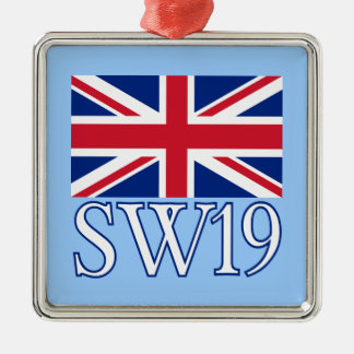 London Postcode SW19 with Union Jack Metal Ornament