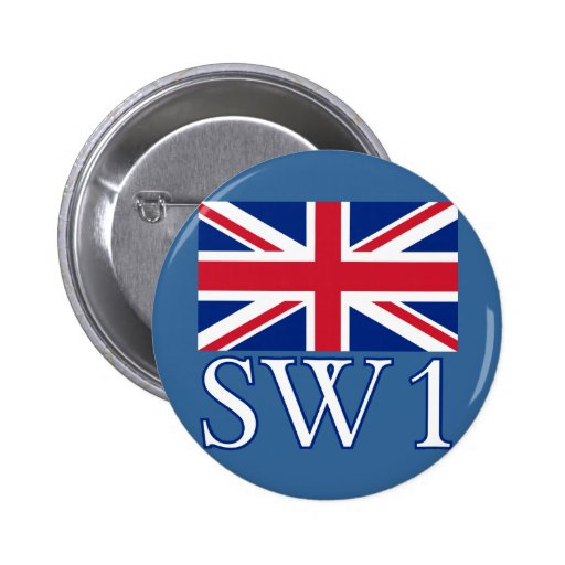 London Postcode SW1 with Union Jack Pinback Buttons