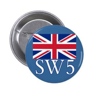 London Postcode SW5 with Union Jack Pin