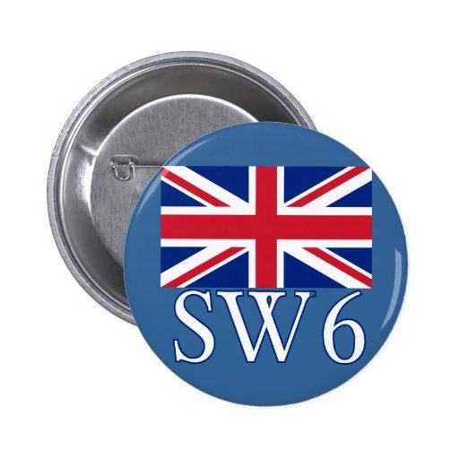 London Postcode SW6 with Union Jack Pin
