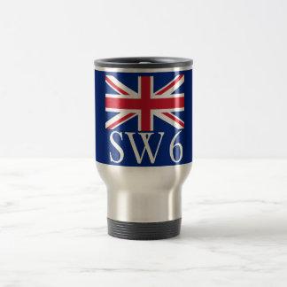 London Postcode SW6 with Union Jack Travel Mug