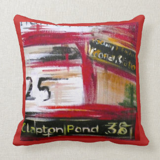 London - Red Bus 25 on Red Throw Pillow