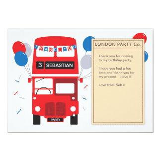London Red Bus Birthday Thank You Card